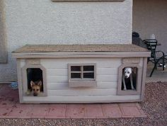 Roxi and Shadow - Arizona:  several years of being tried and tested, this dog house has been proven to be the most comfortable and the safest home you can build for your beloved dogs.