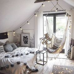 How dreamy is this bedroom? Where and how you wake up can change the whole tone of your day. Image: @marzena.marideko #decoholic #interiordesign #inspiration #bedroom #inspiration #boholiving #boho #bohohome #bohemian #attic #tassels #macrame #swing