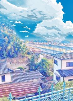 Cityscape with blue sky Fantasy Anime, Fantasy Art, Fantasy Landscape, Landscape Art, Anime Places, Anime City, K Wallpaper, Fantasy Places, Environment Concept Art