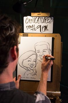 Sweet Love Wedding -- Whimsical -- carnival party favor Caricatures | Carriage House Wedding | Leah Valentine Photography