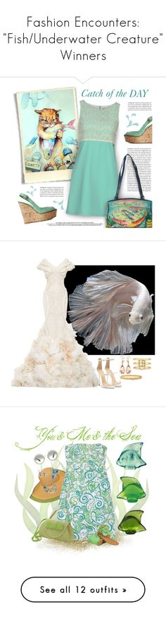 """Fashion Encounters: ""Fish/Underwater Creature"" Winners"" by majezy ❤ liked on Polyvore featuring Sooz by Isabel C., Anuschka, Zac Posen, Giuseppe Zanotti, Valentin Magro, Hueb, Gucci, Lalique, NOVICA and Lilly Pulitzer"