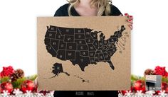 50 States  USA  Abbreviated States  Labeled by RasurePrintsLLC