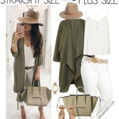 Straight Size to Plus Size – Khaki Jacket Outfit - Plus Size Fashion for Women - Mode Outfits, Fall Outfits, Casual Outfits, Fashion Outfits, Womens Fashion, Fashion Tips, Casual Clothes, Fashion Clothes, Fashion Brands