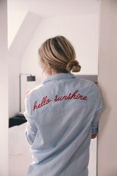 Shirt: embroidered tumblr blue stripes striped embroidered hair bun hair blonde hair