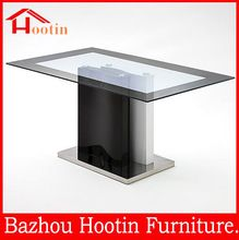 Best Selling 4 Seater Rectangle Glass Top Metal Base Dining Table