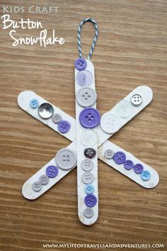Buttons Snowflake Craft for Kids