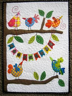 Quilted Wall Hanging fusible applique wall hanging or table runner for spring. batik