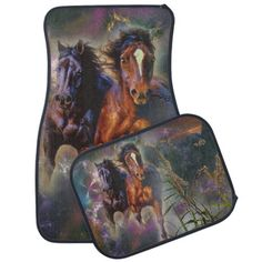 Two Wild Horses Running Free Car Floor Mat