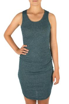 "Sleeveless side ruched tank dress in grey knit or blue green.  Measures: 41"" shoulder to hem  Sleeveless Shirred Dress by Three Dots. Clothing - Dresses - Casual Texas"