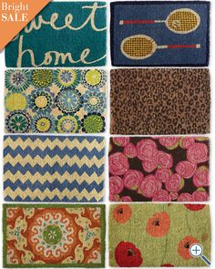 Garnet Hill Doormat Collection - Love the blue chevron one! Cute Door Mats, Coir Doormat, Welcome Mats, Porch Decorating, Decorative Accessories, Indoor Outdoor, Sewing Crafts, Sweet Home, Kids Rugs