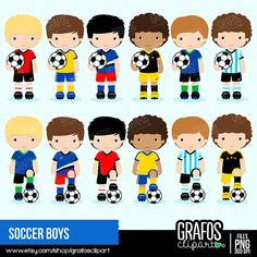 Please, take a minute to read the policies before you purchase. SOCCER BOYS Digital Clipart set -You will receive: