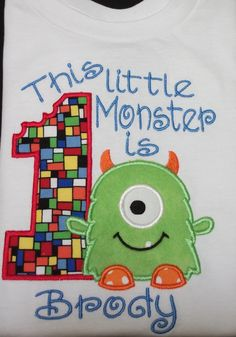 Birthday Monster for Boys or Girls B Party shirt by Turnabouttutus, $22.00