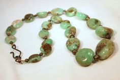 Czech Glass Nuggets and Brass Beaded Necklace  by CKDesignsUS, $41.00