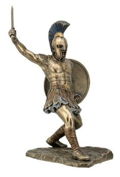 Hector Unleashed with Sword & Shield Statue Sculpture Figurine Troy - This incredibly detailed statue features Hector, the Prince and protector of Troy, charging into battle with Achilles.  Any history buff or literature fan will love this beautiful representation of the brave warrior.