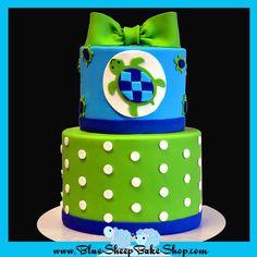 Green and Blue Turtle Baby Shower Cake - by BlueSheepBakeShop @ CakesDecor.com - cake decorating website