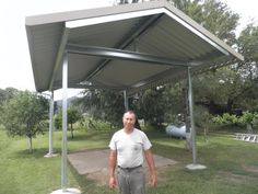 All Steel RV shelter by Tim Hubbard Construction in Grants Pass Or. Carport Sheds, Carport Patio, All Steel Carports, Rv Carports, Metal Carports, Metal Carport Kits, Enclosed Carport, Rv Shelter, Home