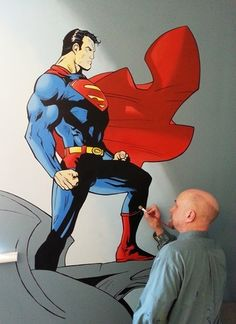 This Superman Mural was painted as part of a large Superhero themed Playroom.