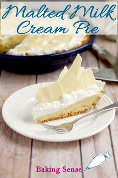 homemade graham cracker crust Malted Milk Cream Pie is a luscious and comforting treat. Buttery graham cracker crust is filled with a custard flavored with malted milk powder. The whipped cream topping also has malted milk flavor. Pie Dessert, Dessert Recipes, Pie Recipes, Amish Recipes, Easter Recipes, Holiday Recipes, Malt Recipe, Ganache Recipe, Milk Powder Recipe