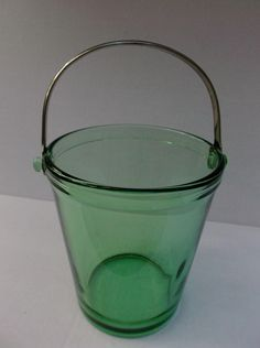 Green Depression Glass Ice Bucket Pail Vintage Decorative from saltymaggie on Ruby Lane