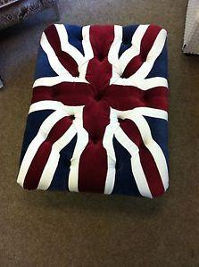 union jack stool pouffe ottoman British made chrome feet medium