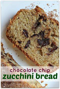 Cinnamon Brown Sugar Crusted Chocolate Chip Zucchini Bread