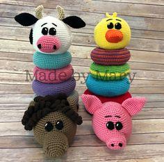 Ravelry: Ring Stacker Toy - Farm Animals pattern by Mary Smith Crochet Stitches Patterns, Stitch Patterns, Amigurumi Patterns, Crochet Rings, Made By Mary, Crochet Dragon, Stacking Toys, Crochet Hook Sizes, Crochet Dolls