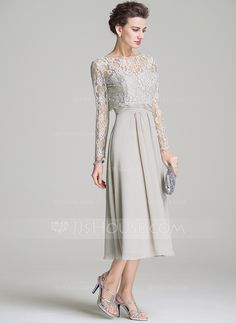 A-Line/Princess Sweetheart Tea-Length Chiffon Mother of the Bride Dress With Ruffle (008072687)