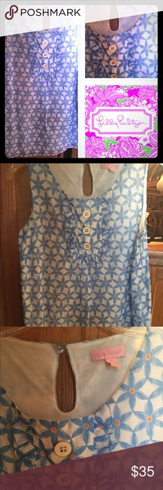 👠SALE 👠Lilly Pulitzer blue flowered top Very cute Lilly top only worn once Lilly Pulitzer Tops Tank Tops