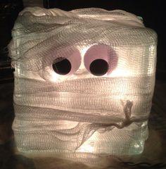 MUMMY lighted glass block Halloween decoration