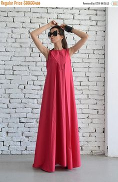 SALE Cotton Candy Pink Maxi Dress / Oversize Loose Casual