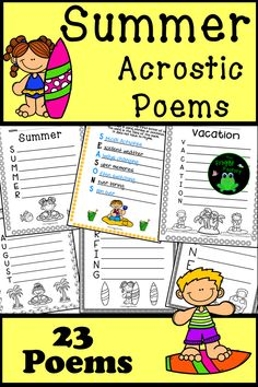 Are you looking for a fun Summer activity to practice poetry? These 23 acrostic poems are the perfect activity for students to practice their poetry skills and have fun writing about Summer themes.These poetry worksheets are great for independent work, interactive notebooks, group work, literacy stations, and partner work. #tpt #teacherspayteachers #language #poetry #writing