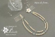 Bijou de tête perles en cristal, deux rangs montés sur peignes plaqué-argent, fleur de nacre ciselée, strass en cristal - Bridal hair combs jewelry, Swarovski crystal beads.