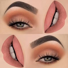 There are a lot of people who nowadays are applying cosmetics using their fingers, in my opinion it looks a lot better if applied using a make-up brush. This article describes the reasons for this and looks at the types of make-up bru Pretty Makeup, Love Makeup, Makeup Inspo, Makeup Inspiration, Peach Makeup, Stunning Makeup, Makeup With Orange Dress, Peachy Makeup Look, Makeup 2016