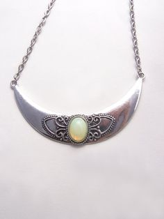 Crescent necklace , Mint opal glass necklace , Bohemian jewelry , Silver crescent €18.67   Silver crescent necklace with mint opal glass by Valkyrie´s Song