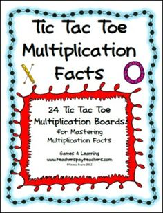 Tic Tac Toe Multiplication Facts from Games 4 Learning combines the fun of Tic Tac Toe and with practice of basic multiplication facts.  It includes 24 Tic Tac Toe Multiplication Game Boards. ($)