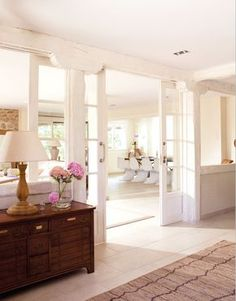 Interior windows and doors! Interior Windows, Interior Decorating, Interior Design, Built In Shelves, Windows And Doors, Large Windows, Great Rooms, Home And Living, Home Remodeling