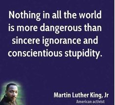 Nothing in all the world is more dangerous than sincere ignorance and conscientious stupidity. — Martin Luther King Jr.