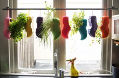 Materials: BETYDLIG curtain rod holder, HUGAD curtain rod, woodenshoes, spraypaint  Description: In the absence of a windowsill in our kitchen, I found an