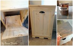 Wood Tilt Out Trash Can Cabinet | bydawnnicole.com Maybe a different color stain but looks doable.  I think this would help keep this doggies out!