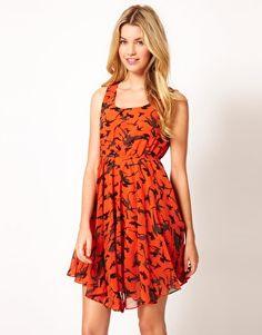 Cute halloween inspired dress.  Le Ciel Bird Print Dress