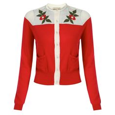 Humphrey Red Knitted Cardigan | Vintage Style Knitwear - Lindy Bop