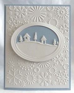 card: framed snowy scene..snowflake embossing folder...simply beautiful...