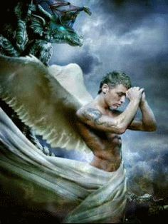 Male angel - it is a mobile phone screen saver.