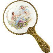 Antique Limoges Hand Held Mirror Hand Held Vanity Mirror
