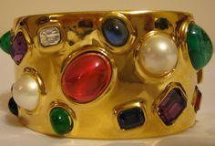 vtg CINER 1960s gripoix glass rhinestone jeweled gold tone cuff bracelet. $ 275.00, via Etsy.