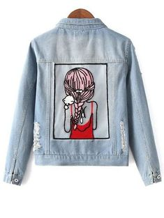 fba5e3ba7b8 Sequins Embellished Shirt Collar Distressed Denim Jacket Does anyone know  where to buy this besides Zaful