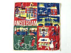 Vintage Souvenir Handkerchief Amsterdam Holland Netherlands
