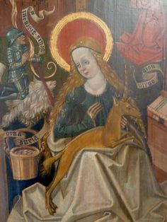 Virgin Mary with the unicorn  Triptych, detail  Altarpiece of the little church in Tonndorf, Thüringen