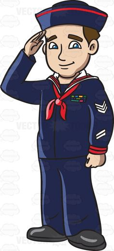 A navy man in his blue sailor uniform #cartoon #clipart #vector #vectortoons #stockimage #stockart #art