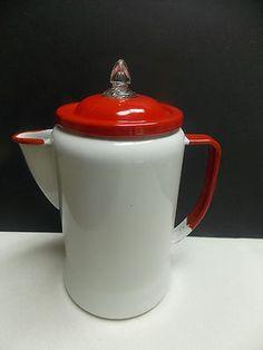 Vintage Enamel Percolator Coffee Pot Red and White Vintage Tins, Vintage Glassware, Vintage Kitchen, Chocolate Pots, Kitchen Items, White Enamel, Tea Pots, Red And White, Coffee